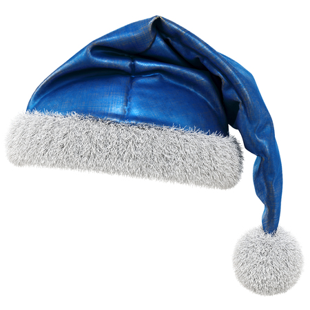 Santa Claus blue hat isolated on white background. 3D illustration.