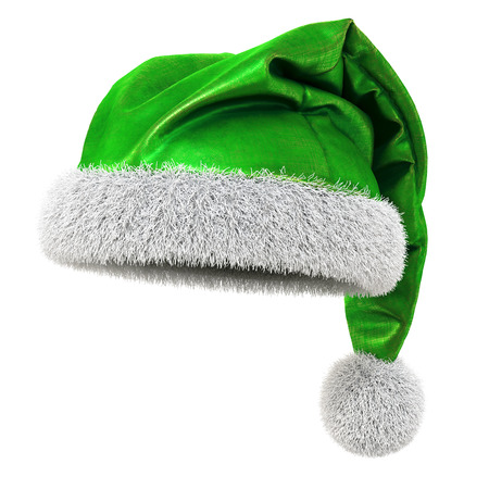 winter hat: Santa Claus green hat isolated on white background. 3D illustration.