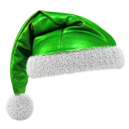 hat santa: Santa Claus green hat isolated on white background. 3D illustration.