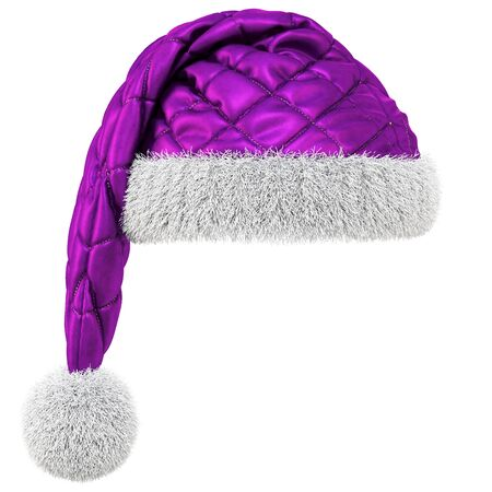 Santa Claus purple hat isolated on white background. 3D illustration. Stock Photo