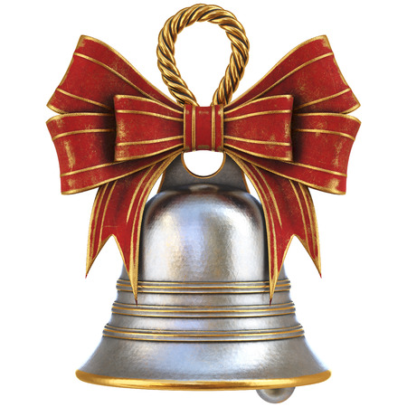 Christmas bell with a bow. isolated on white. 3D illustration Stock Photo