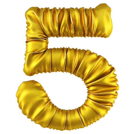 digits made of golden fabric. Isolated on white. 3D illustration. Stock Photo