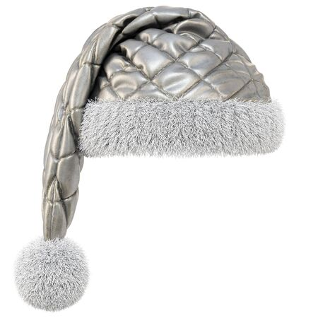 Santa Claus gray hat isolated on white background. 3D illustration.