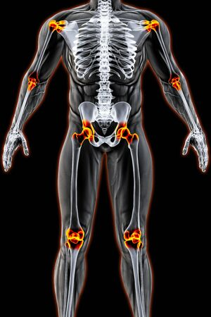 male body under the X-rays. joints are highlighted in red. 3D illustration. Stock Photo