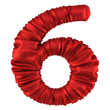 digits made of red fabric. Isolated on white. 3D illustration. Stock Photo