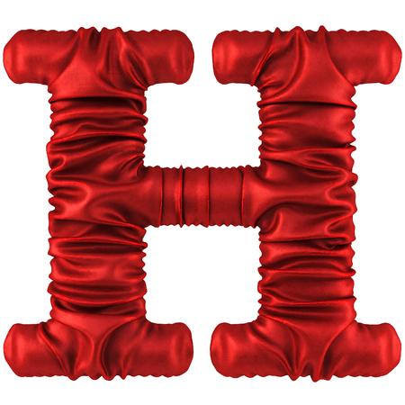 designation: Alphabet made from red fabric. Isolated on white. 3D illustration.