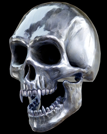 The vampire metal skull on dark background. 3d rendering.