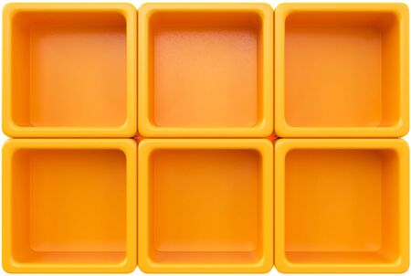 market place: Empty orange plastic shelf. 3d rendering Stock Photo