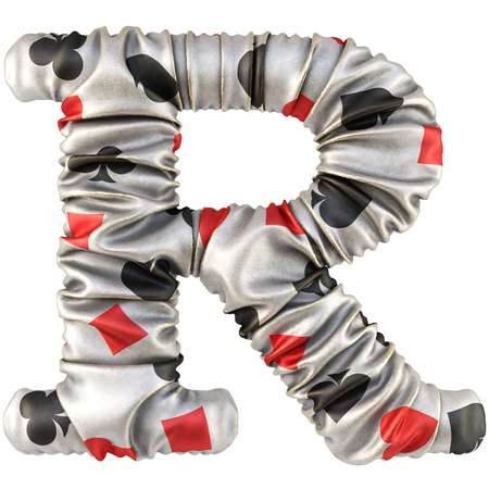 lear: Alphabet from fabric with card suits. Isolated on white. 3D illustration.