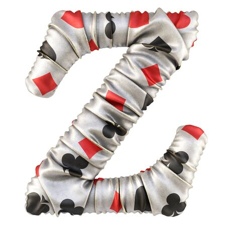 Alphabet from fabric with card suits. Isolated on white. 3D illustration.