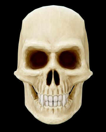 The vampire skull on black background. 3d rendering.