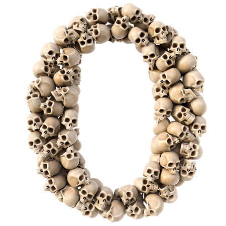 number made from skulls. Isolated on white. 3D illustration.