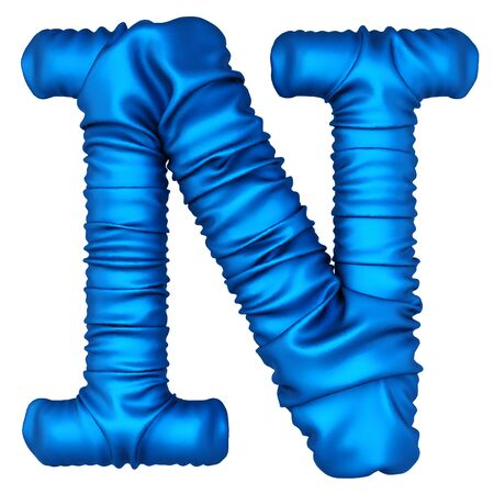 Alphabet made from blue fabric. Isolated on white. 3D illustration. Stock Photo