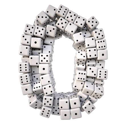 six objects: digits made from white dice. Isolated on white. 3D illustration. Stock Photo