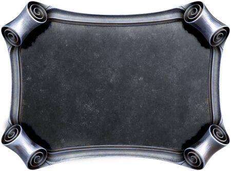 美しい金属製のフレームで暗い金属看板。白で隔離。3 d レンダリング。