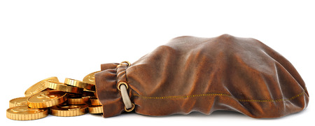 Gold coins fall out of a leather sack. Isolated on white background. 3D illustration. Stock Photo