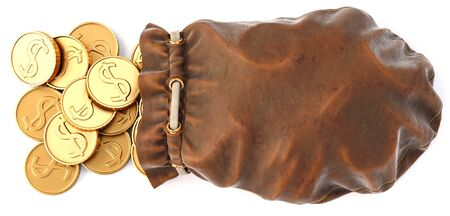 Gold coins fall out of a leather sac in 3D illustration.
