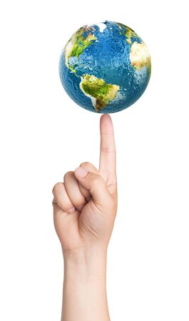 sea pollution: Planet earth on the finger. Elements of this image furnished by NASA. 3D illustration. Stock Photo