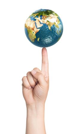 security symbol: Planet earth on the finger. Elements of this image furnished by NASA. 3D illustration. Stock Photo