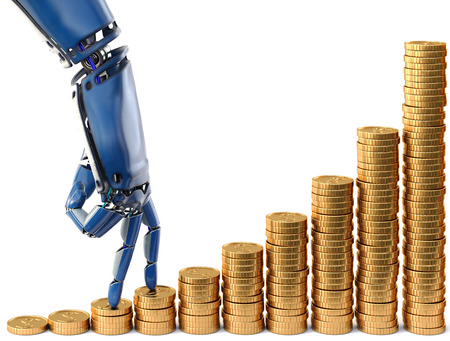 Robot fingers walking up on stacks of coins in 3d rendering.