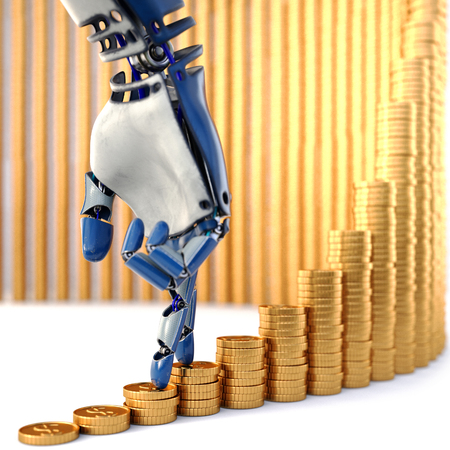 Robot fingers walking up on stacks of coins. Isolated on white background. 3d rendering.