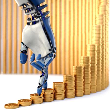 Robotvingers die omhoog op stapels muntstukken lopen. Geïsoleerd op witte achtergrond 3D-rendering.
