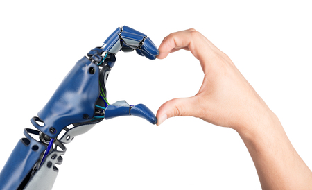 Hartvormig door menselijke en robothanden. Geïsoleerd op witte achtergrond 3D illustratie. Stockfoto