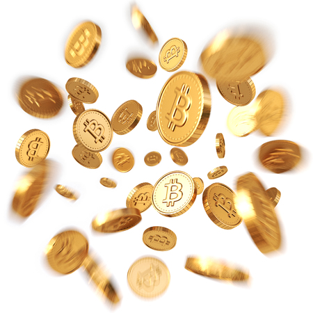 Golden Bitcoins explosion. Isolated on white background. 3d rendering. Stock Photo