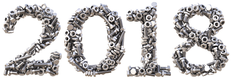 new 2018 year from the nuts and bolts. isolated on white. 3D illustration Stock Photo