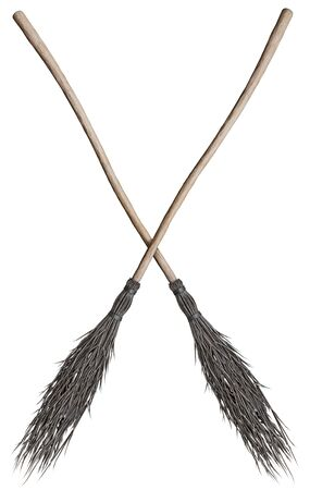 Witches broomsticks for Halloween holiday. Isolated on white background. 3d rendering.