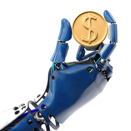 Robots hand holding golden coin. Isolated on white background. 3d rendering.