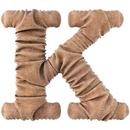 alphabet made from burlap. Isolated on white. 3D illustration. Stock Photo