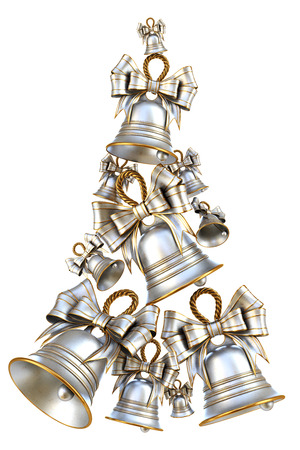 Decorative silver bells for Christmas and New Year. Isolated on white background. 3d illustration.
