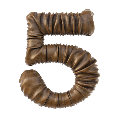 Number made from brown leather with realistic folds. Isolated on white. 3D illustration. Stock Photo