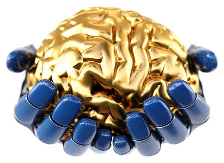 Robotic hand holding golden human brain. Isolated on white background. Artificial intelligence concept, bionic brain. 3d illustration.