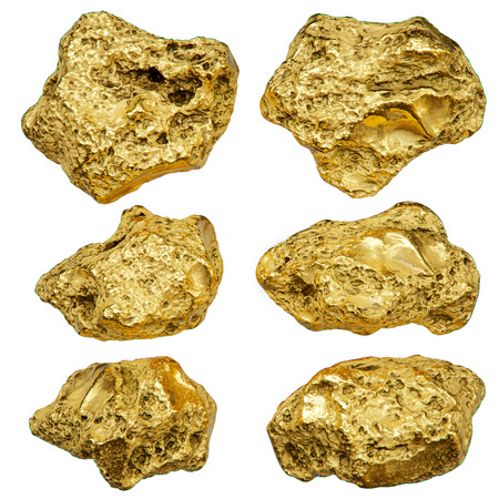 Gold nugget isolated on white background. 3d rendering.