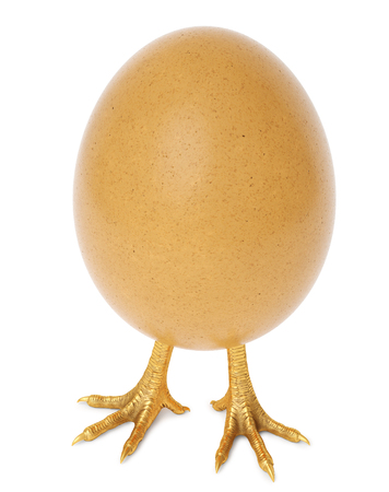 egg with golden chicken feet. isolated on white background. 3d rendering.