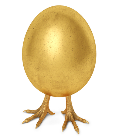 golden egg with golden chicken feet. isolated on white background. 3d rendering.