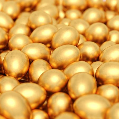 background of golden eggs. 3d rendering Standard-Bild - 120152773