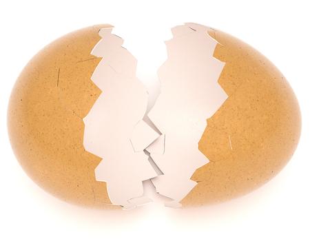 Broken Eggshell isolated on white background. 3d rendering. Standard-Bild - 120152825