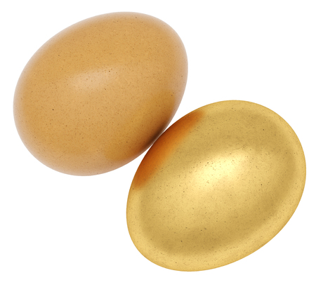 Brown chicken eggs with one golden egg. 3d rendering concept.