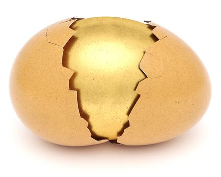 broken eggshell with golden egg inside. isolated on white background. 3d rendering. Standard-Bild - 120152835
