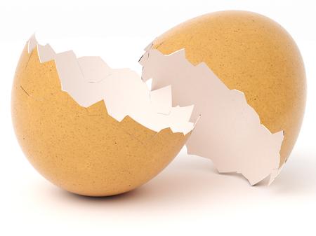 Broken Eggshell isolated on white background. 3d rendering. Standard-Bild - 123118049