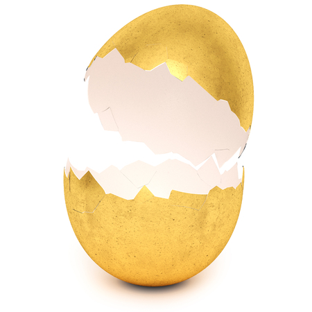 Golden egg with broken eggshell. Investment, money and success concept. Isolated on white background. 3d rendering. Stock Photo