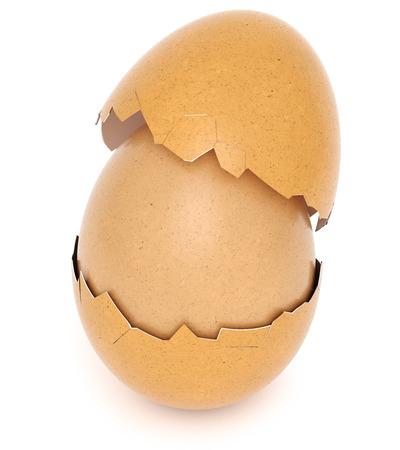 broken eggshell with chicken egg inside. isolated on white background. 3d rendering. Standard-Bild - 120152848