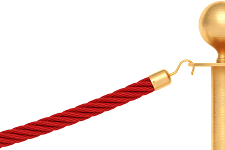 Golden barricade with red rope isolated on white background. 3d rendering.