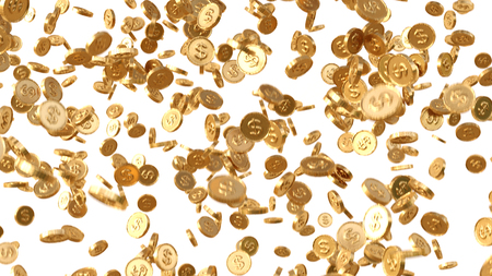 Golden coins rain, Falling coins, falling money, flying gold coins. Isolated on white background. 3d rendering.