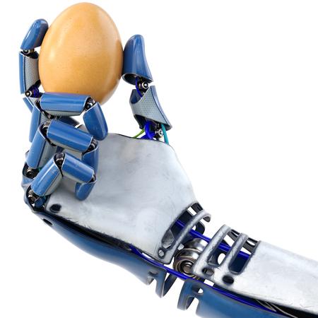 Roboterhand, die frisches Hühnerei hält Isoliert auf weißem Hintergrund. 3D-Rendering. Standard-Bild