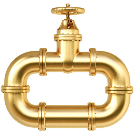 Gold valve of pipeline. Fuel and energy industrial concept. 3d illustration
