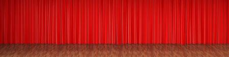 Theater stage with red curtains. 3d rendering.